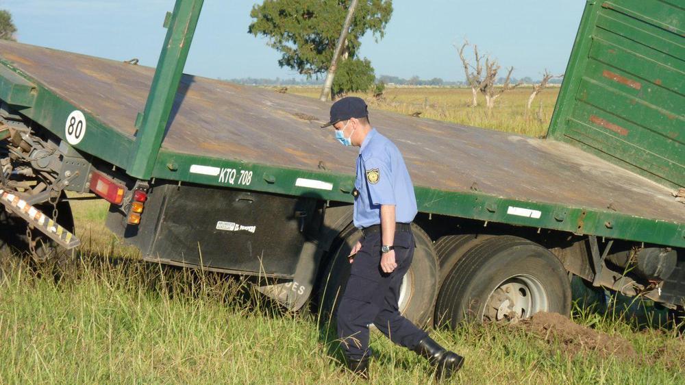 comisario Aranguez en el lugar del accidente