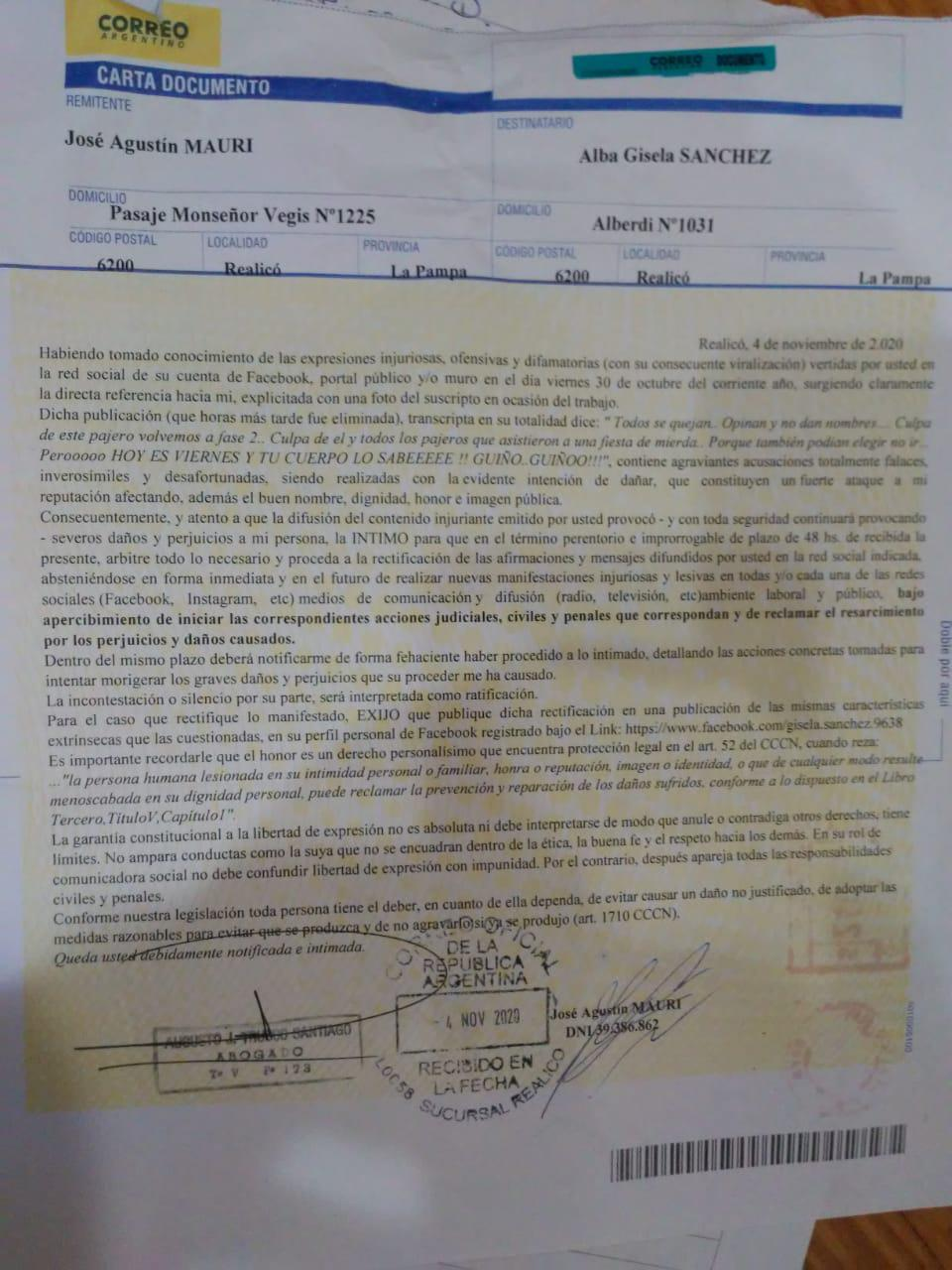 Carta documento Mauri